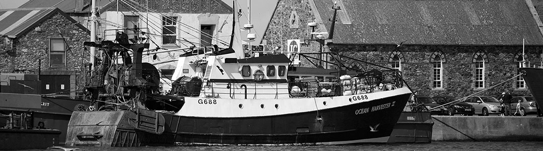 Fishing Fleet Howth, by William Murphy, http://www.flickr.com/photos/infomatique/3872524269, cropped, monochrome filter applied